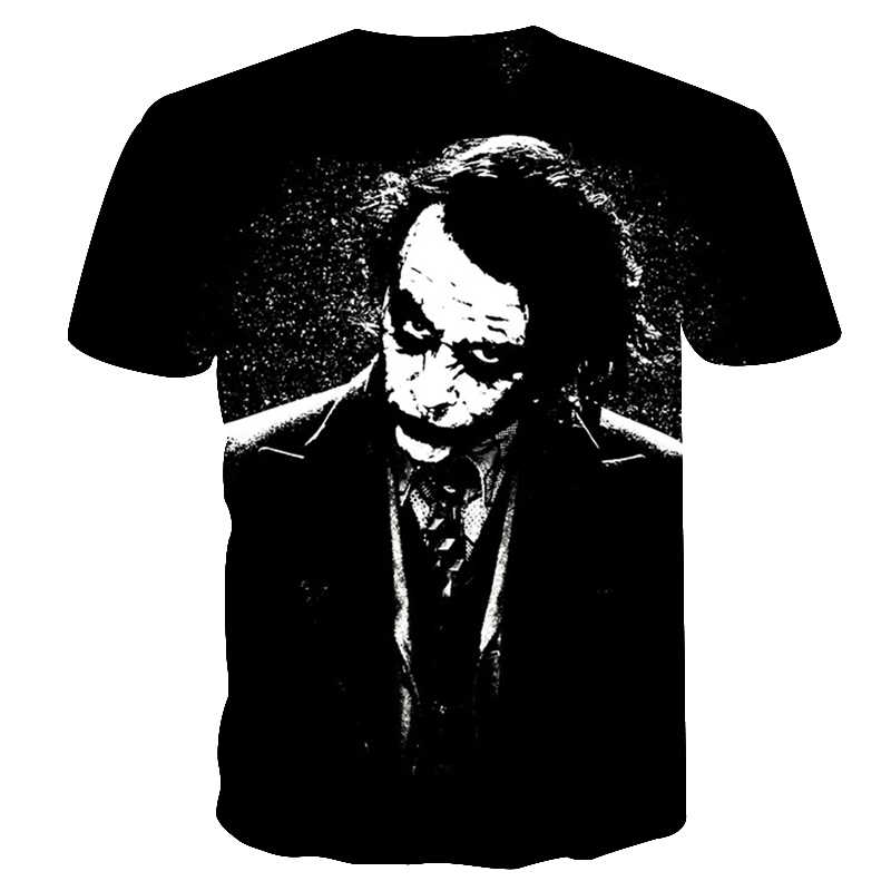 2018 Мужская футболка с 3d джокером, мужские футболки с принтом из фильма, летние футболки с коротким рукавом с Бэтменом и круглым вырезом, повседневные футболки Джокера
