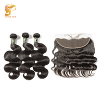 AOSUN HAIR 13*4 Ear to Ear Lace Frontal With Bundles Brazilian Body Wave With Closure 8 28inch Remy Human Hair Weaves Extensions