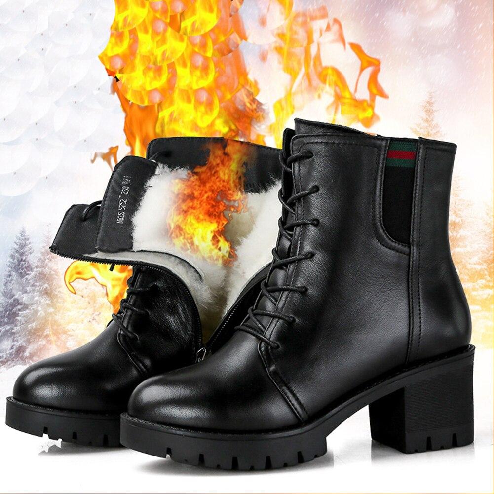 Martin Marque Fourrure Cuir Nouveau Bottes Neige Grande Laine Pleine Taille En D'hiver Une Chaussures 01 Véritable Femmes 2018 UFawFfq