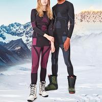 Heilsa Brand Women Underwear Men Long Johns Ski Suit Quick drying Thermal Ski Jacket Pants Outdoor Winter Coat