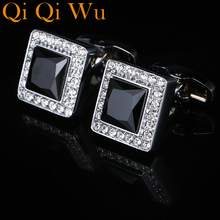 2017 New Style Shirt wedding Cufflinks For Mens Gift French Brand Cuff Buttons Crystal Cuff links High Quality Black Jewelry decepticon style cuff links buttons pair