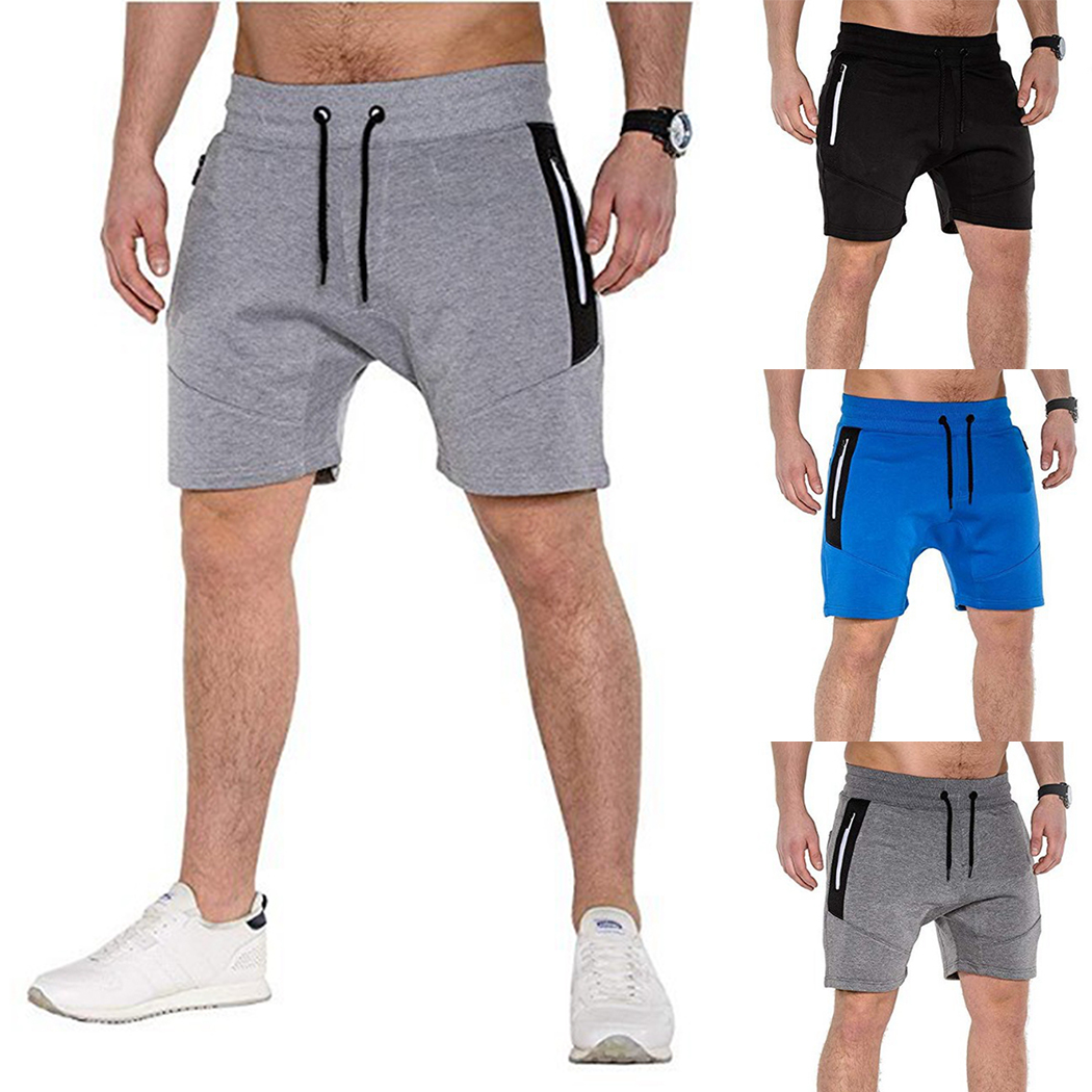 Fitness Shorts Sweatpants Drawstring Zipper-Pockets Sporting Cotton Summer Plus-Size