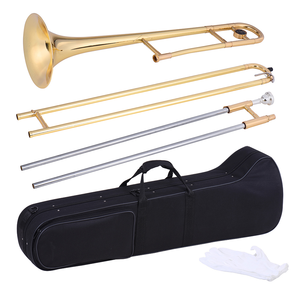 ammoon Alto Trombone Brass Gold Lacquer Bb Tone B flat Wind Instrument with Cupronickel Mouthpiece Cleaning