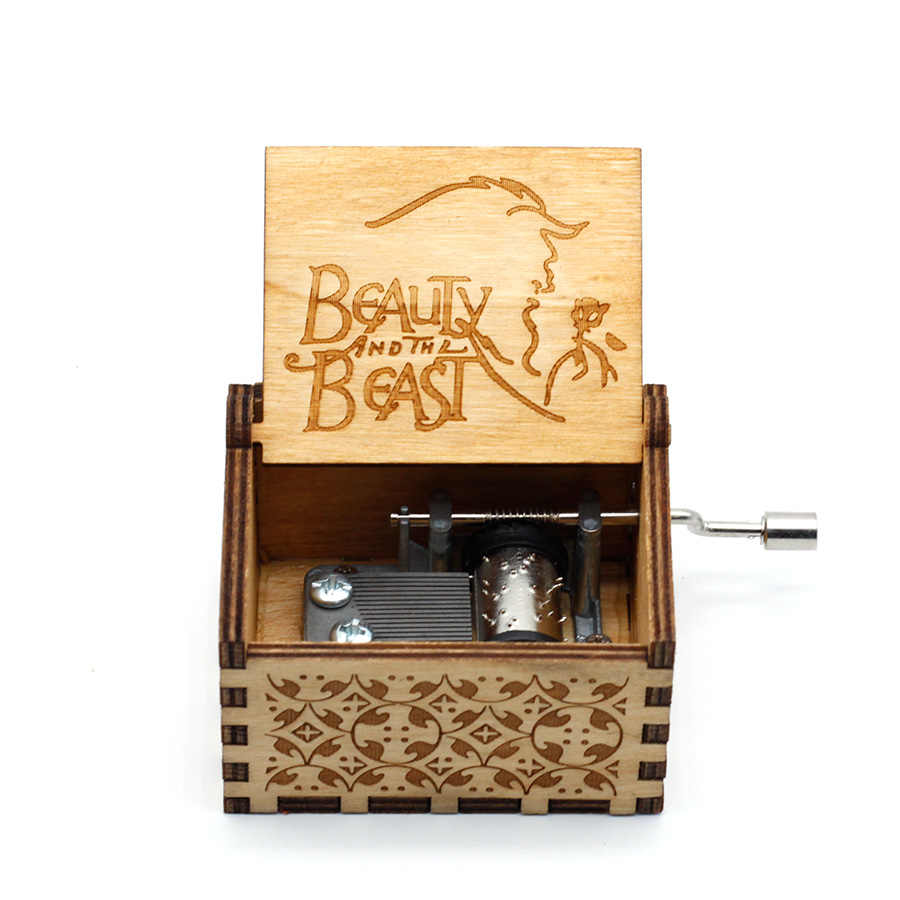 Anonymity  wooden hand crank Beauty and the Beast  Music Box  Davy Jones Locket theme Wooden Music Box
