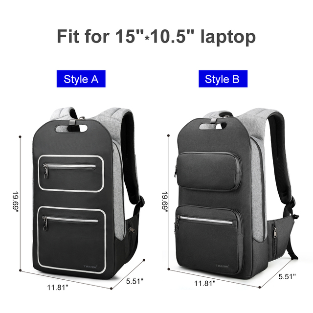 Tigernu Brand Quality Fashion School Backpack For Men 15.6inch Student College Male Mochila USB Charging Men Backpack Anti theft 3