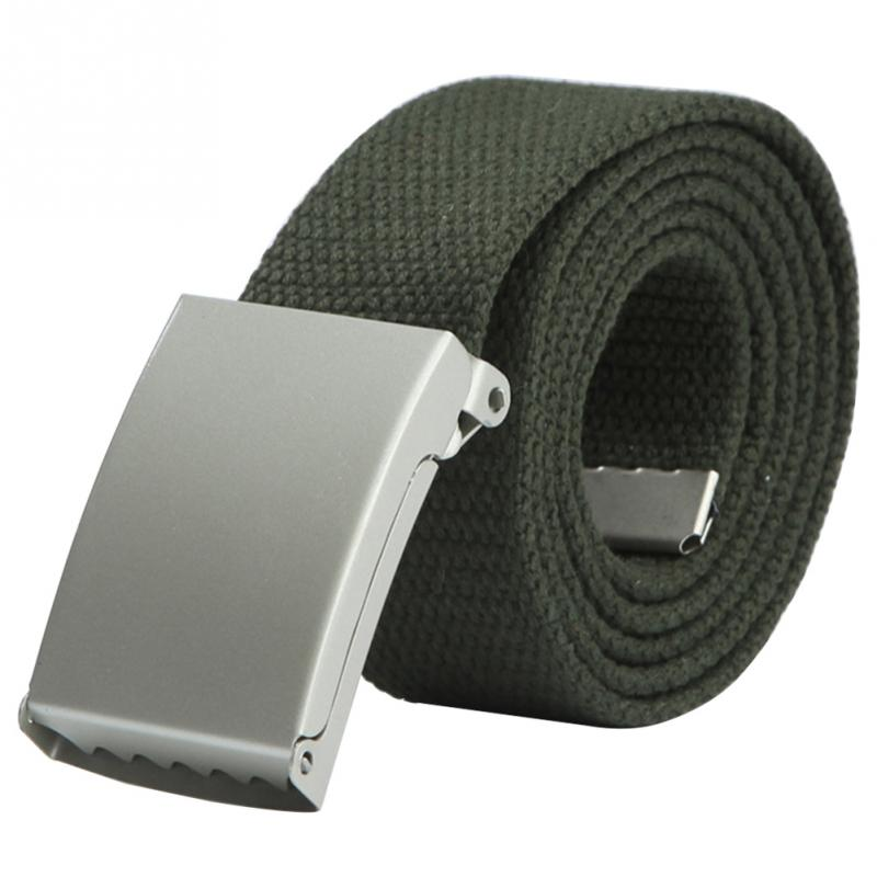 1PC Men And Women Casual Solid Color Canvas   Belt   Automatic Buckle Student Military Army   Belt   Waistband