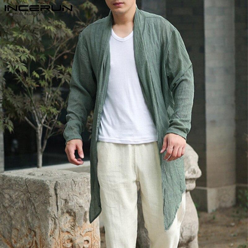 Fashion Mens Jackets Long Outwear Irregular Hem Punk Hiphop Male Cloak Coats   Trench   Windbreaker Hombre Summer Autumn Cardigan