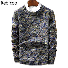 mens sweater 2018 New Casual Pullover Fashion Slim Men Autumn Round Neck Knitted Cotton Print High quality christmas