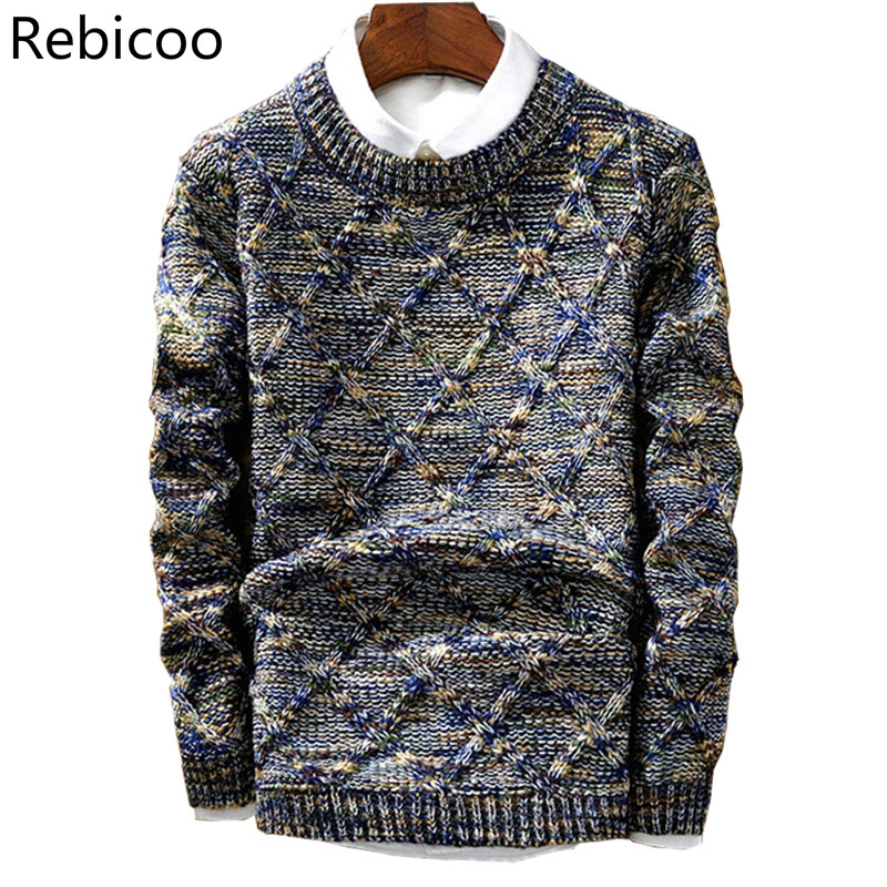 Men's Sweater  New Casual Pullover Fashion Slim Men Autumn Round Neck Knitted Cotton Print High Quality Christmas Sweater