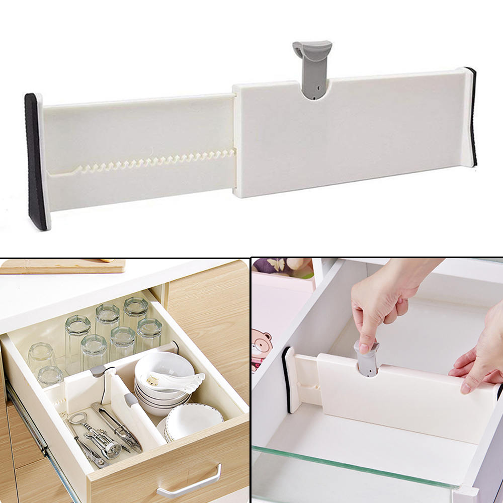 White Drawer Dividers Adjustable Spring Loaded Expandable Kitchen Bedroom Organizer Retractable Drawer Partition Board for Home drawer