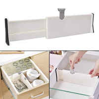 White Drawer Dividers Adjustable Spring Loaded Expandable Kitchen Bedroom Organizer Retractable Drawer Partition Board for Home