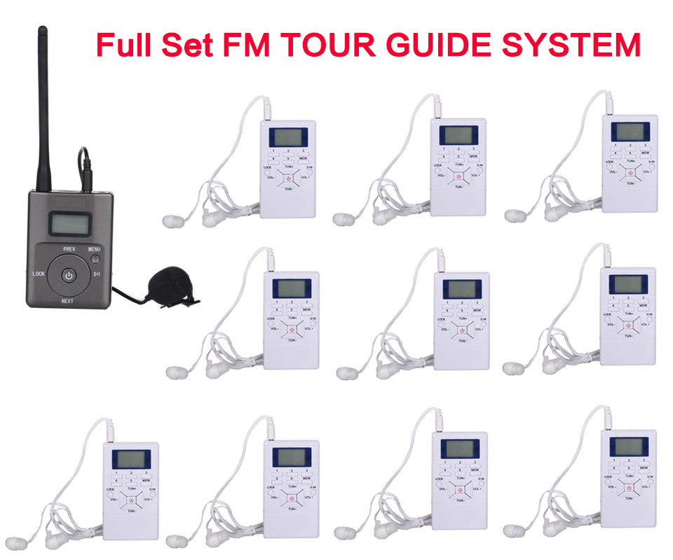 YARMEE small 1 FM Transmitter +10 FM Radio Receiver Wireless Tour Guide System for Guiding Meeting Simultaneous Interpretation