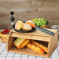 Kitchen Roll Top Bread Storage Box Home Kitchen Multi function Sundries Box Natural Bamboo Bread Holder Food Storage Container