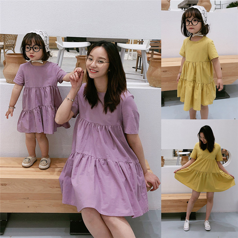 Summer Brand New Mother And Daughter Clothes Parent-Child Solid Color Short Sleeve Dress Family Matching Outfits Set Skirt