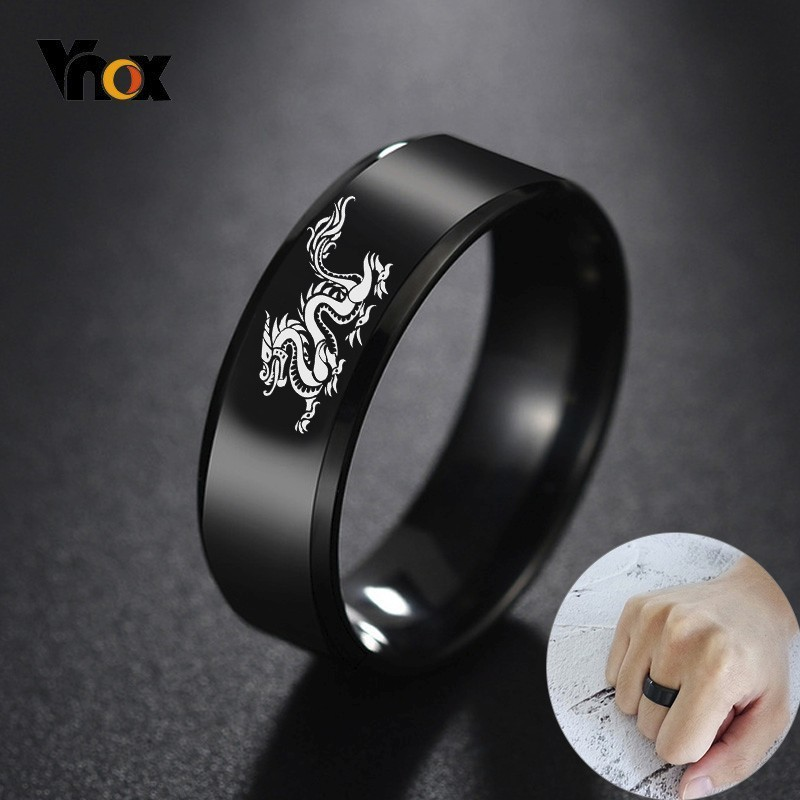 Vnox Dragon-Ring Engraving Stainless-Steel Chinese Him Black Personalized Punk Male Men