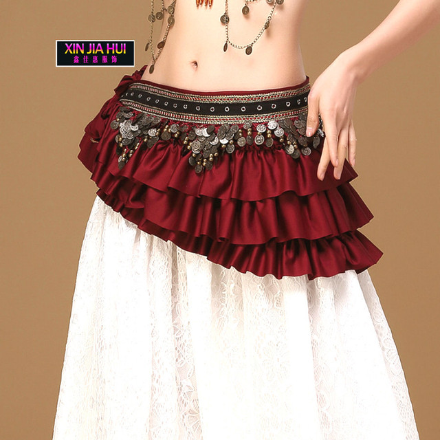 Gypsy Costume Accessories 3 Color New Indian Women Sexy Belly Dance Hip Scarf Belt Dancing Wrap Coins Bellydance Tribal Clothes