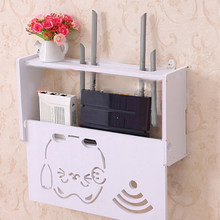 Wifi Box Router Storage Box Wood Shelf Wall Hangings Bracket Cable Storage Box Home Organizer(China)