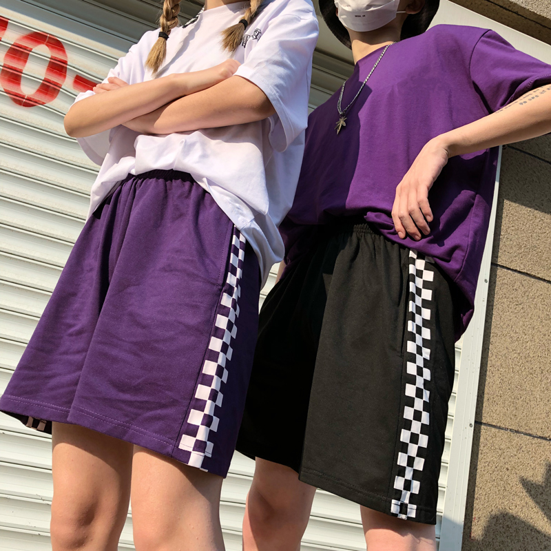 2020 Korean Retro Harajuku Summer Women Shorts Side Black White Plaid Printed High Waist Casual Female Shorts 1