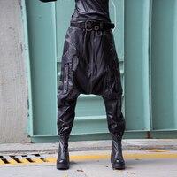 #2827 Hip Hop Pants Women Dance High Quality Punk Faux Leather Harem Pants Loose Drop Crotch Black PU Trousers Ladies Streetwear