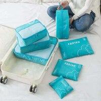 7pcs/Set Hanging Ziplock Travel Storage Bag Cubes Portable Rip Stop Nylon Wardrobe Clothes Shoes Luggage Organizer Set