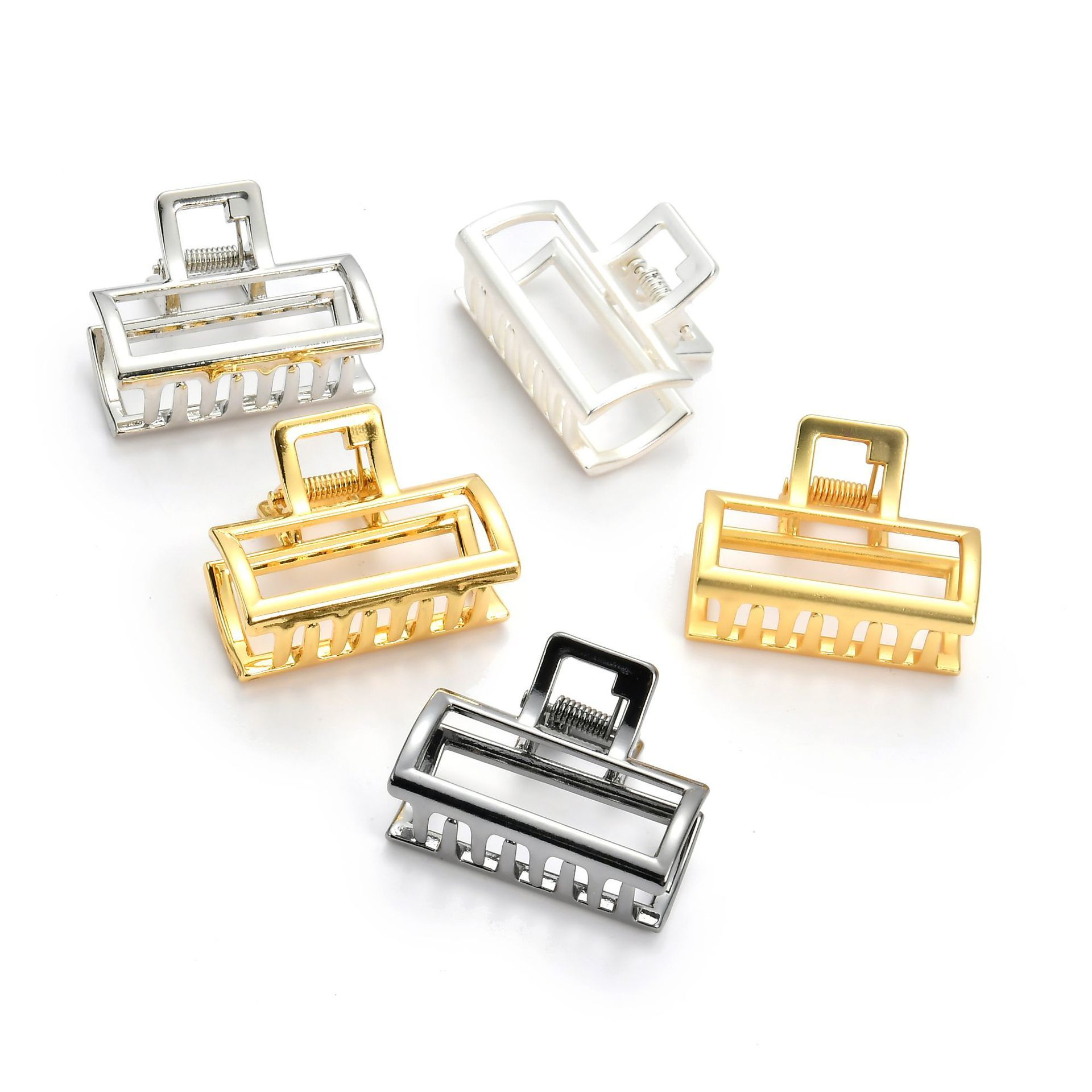 Small Size Hair Crab Concise Geometric Hollow Out Rectangle Claw Gold Silver Plating Hairpins For Women Ponytail Holders