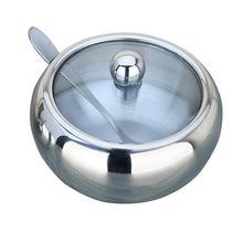 Резервуар для приправ+ ложка/набор бытовой толстый резервуар из нержавеющей стали для кофе, варенья, крышки для соли, ложка, миска, сахарница, кухонный инструмент для приготовления пищи