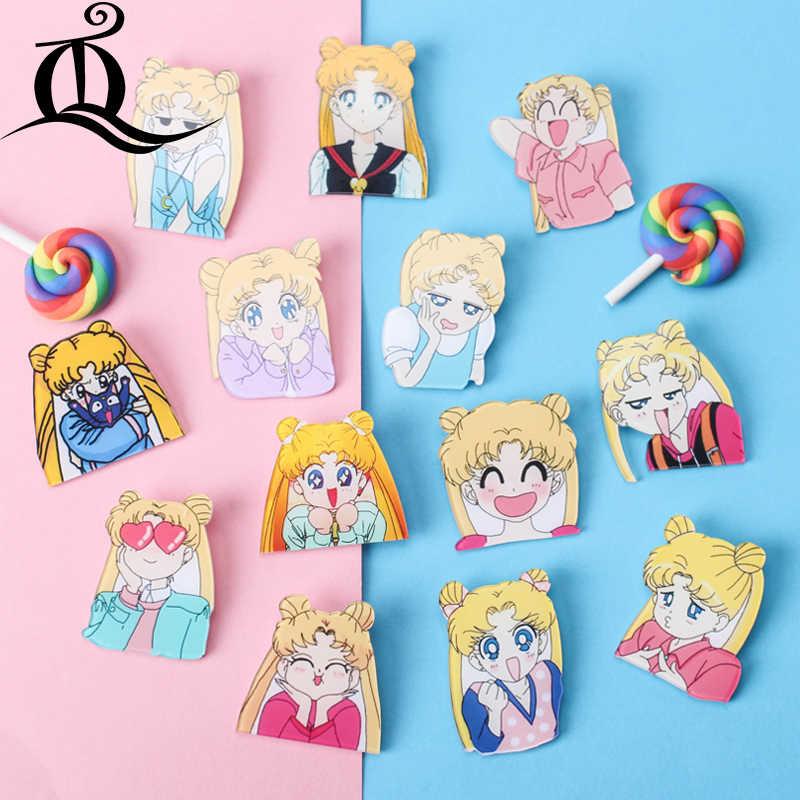 1 sztuk Sailor Moon dziewczyny postać ikona Harajuku akrylowe plakietki przypinki na plecak diy naklejka na ubrania Cartoon Anime broszka dziewczyny prezenty