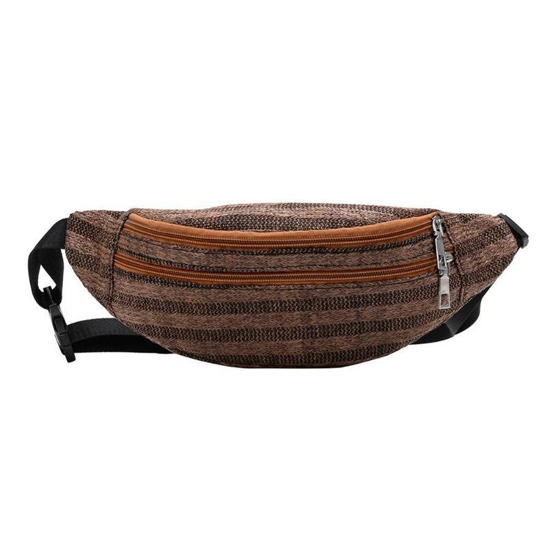 Summer Beach Straw Woven Waist Fanny Packs Women Belt Handbags Chest Bags 2019