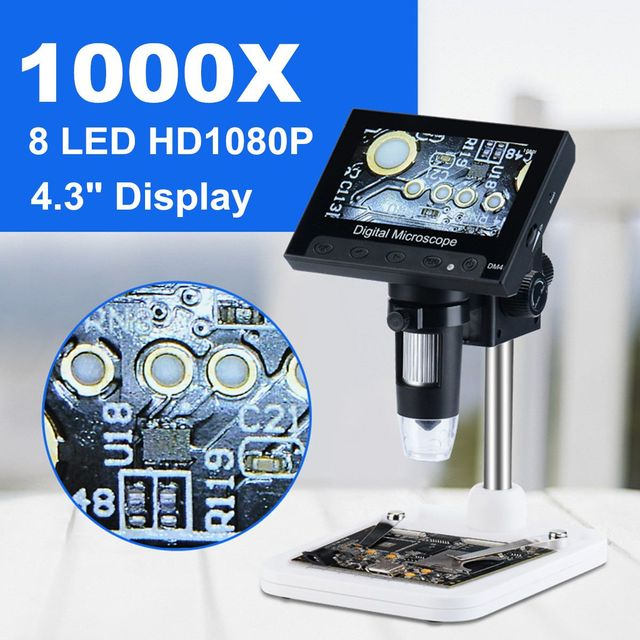 "1000x 2.0MP USB Digital Electronic Microscope DM4 4.3""LCD Display VGA Microscope with 8 LED Stand for PCB Motherboard Repairing"