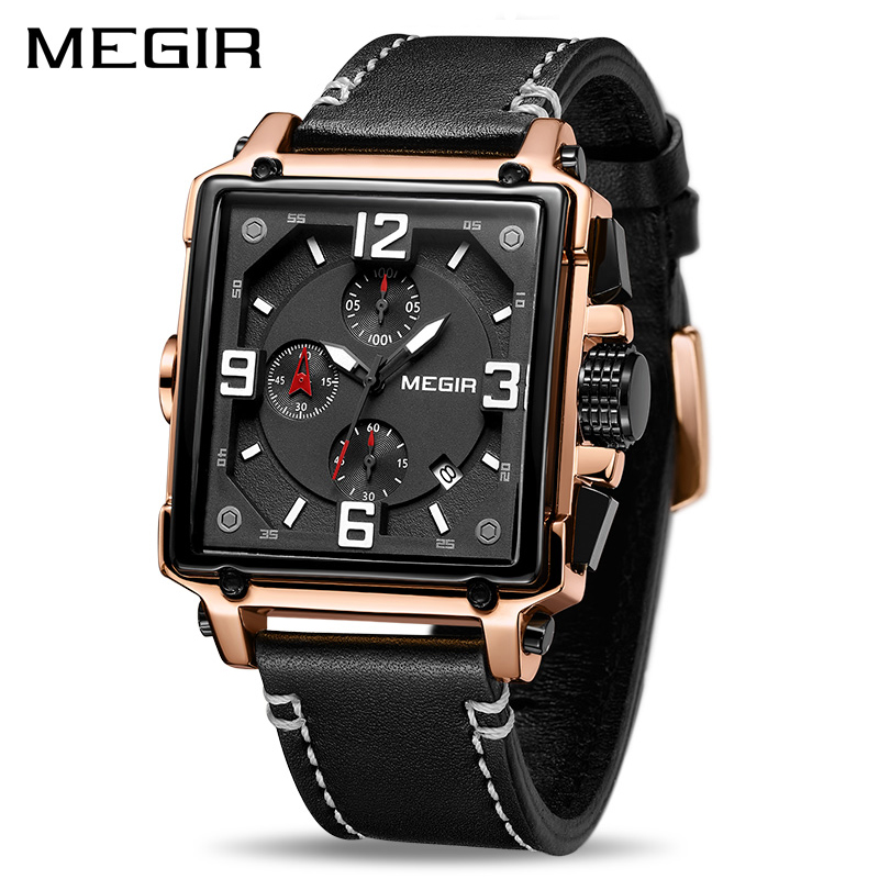 Reloj MEGIR hombre creativo reloj superior de la marca de lujo de cuarzo de cronógrafo reloj de cuero de los hombres del Deporte Militar del Ejército relojes de pulsera Saat