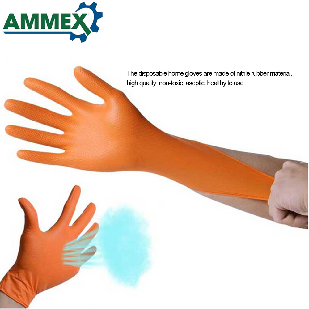 Image 4 - 100pcs Disposable Gloves Thick Rubber Oil Acid Resistant Nitrile Rubber Gloves For Home Food Laboratory Cleaning Use-in Safety Gloves from Security & Protection