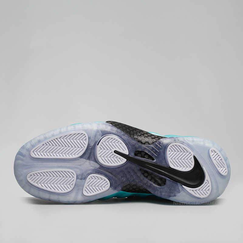 Nike Homens Tênis De Basquete Foamposite Ar Pro Prata Bolha Verde Original Confortável Tênis Almofada de Ar #624041-303