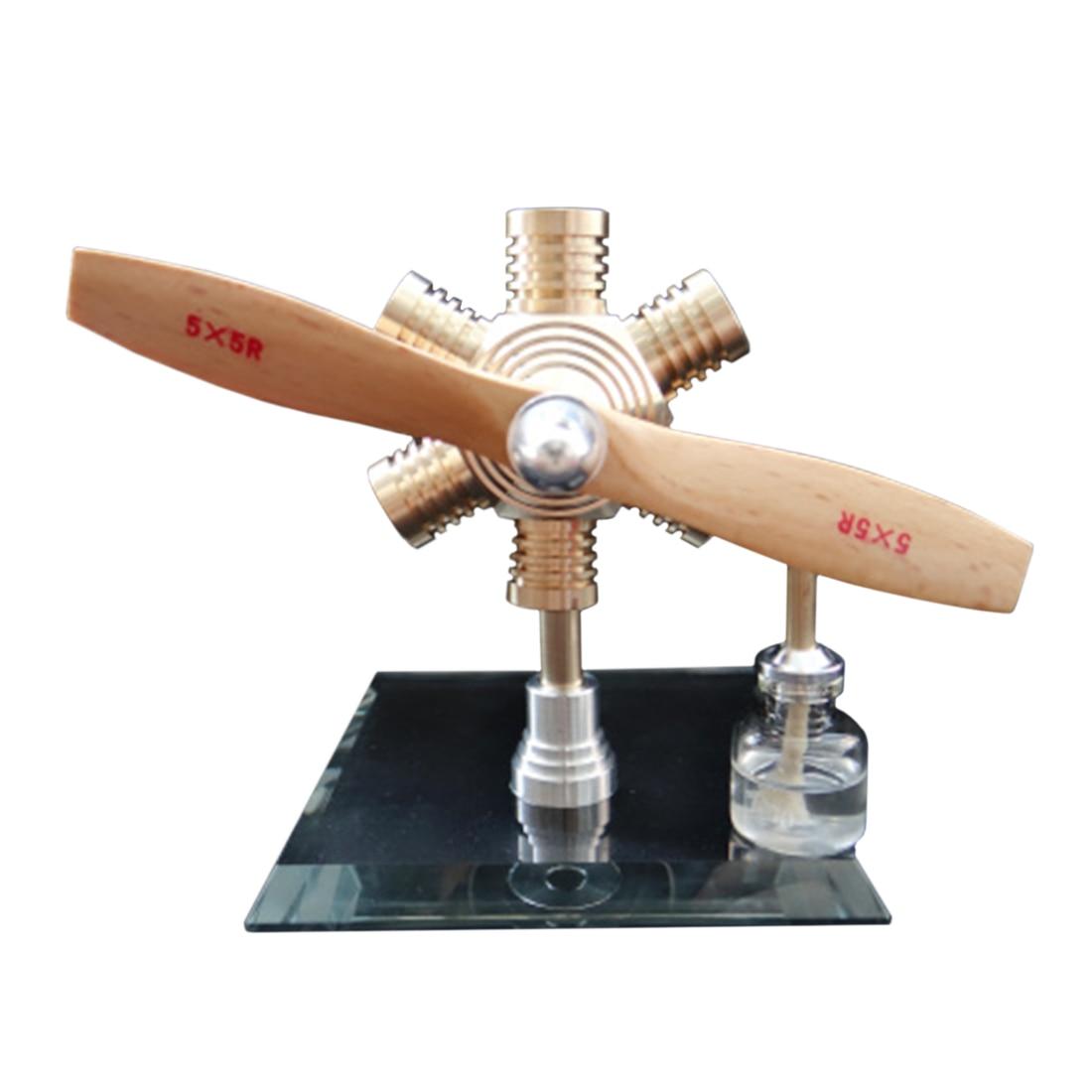 Modèle de moteur Stirling à piston libre de forme hexagonale avec hélice en bois pour enfants apprenant la Science Kit de construction de modèle 2019