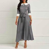 Clocolor Vintage Dress Women Peter Pan Collar A Line Belt Lace Up Tunic Elegant Office Ladies Work Wear M XXL Retro Long Dress
