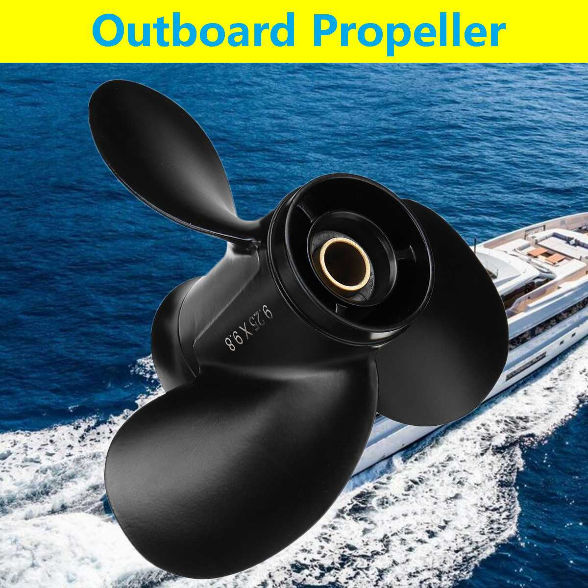 362B641080 For Tohatsu-Mercury 9.9-20HP 9.25 X 9.8 Aluminum Outboard Propeller 14 Spline Tooth 3 Blades Standard Rotation Black