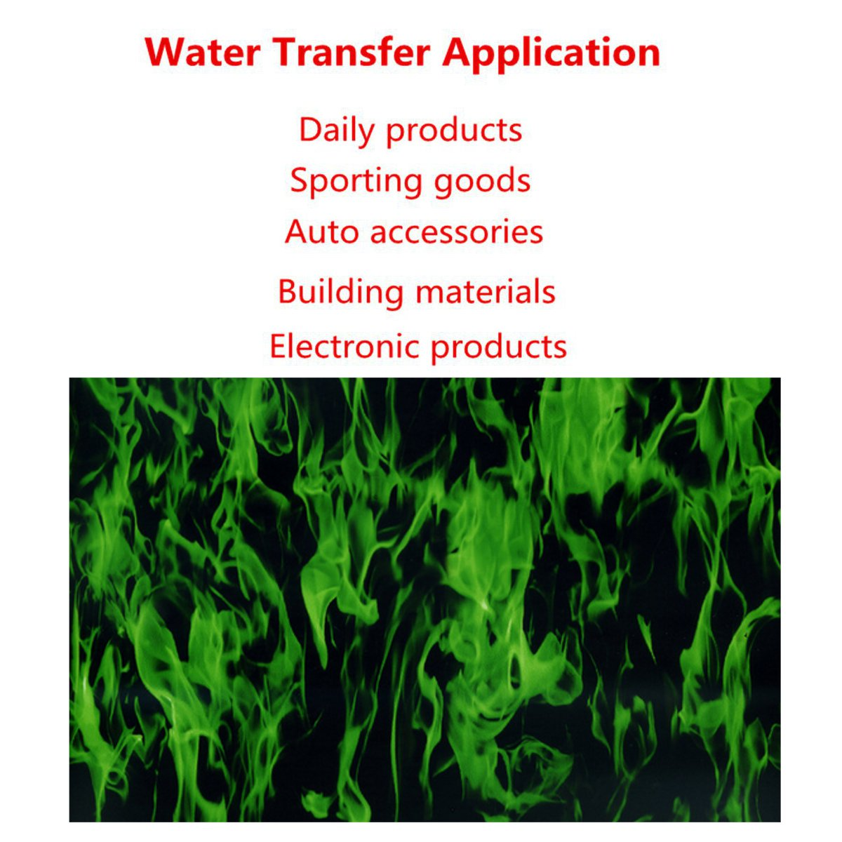 50x100cm PVA Green Flames Water Transfer Dipping Hydrographics Hydro Printing Film For Household Car Building Decoration