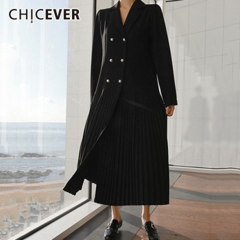 CHICEVER Patchwork Chiffon Blazer Dress Female Long Sleeve Double Breasted Pleated Dresses Autumn Korean Fashion Clothing New 1