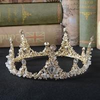 Vintage Bridal Headband Rhinestone Beads Round Crown Tiaras Luxury Crystal Queen King Crowns Bridal Wedding Hair Accessories