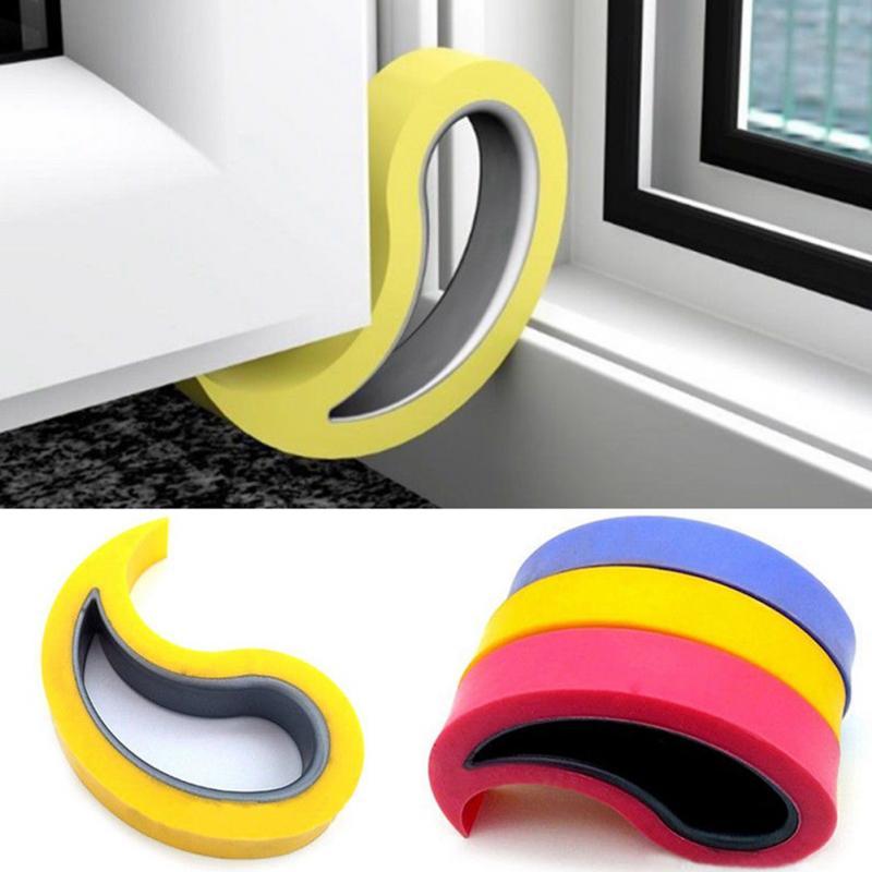 все цены на 1PC Cute Cartoon door stopper TPR Doorstop safety for baby Home decoration 3 Color holder lock Baby Finger Proofing Door Stopper онлайн