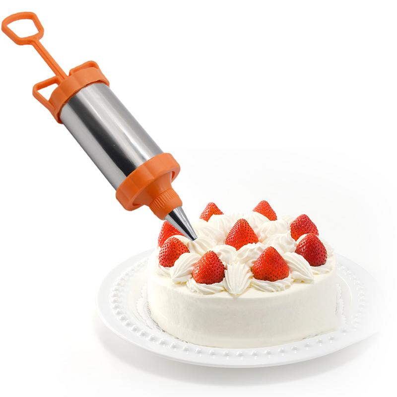 Stainless Steel Cake Cupcake Decorative Pastry Icing Piping Syringe Spatula 4 Nozzle Tip Scraper Blade Baking Tool