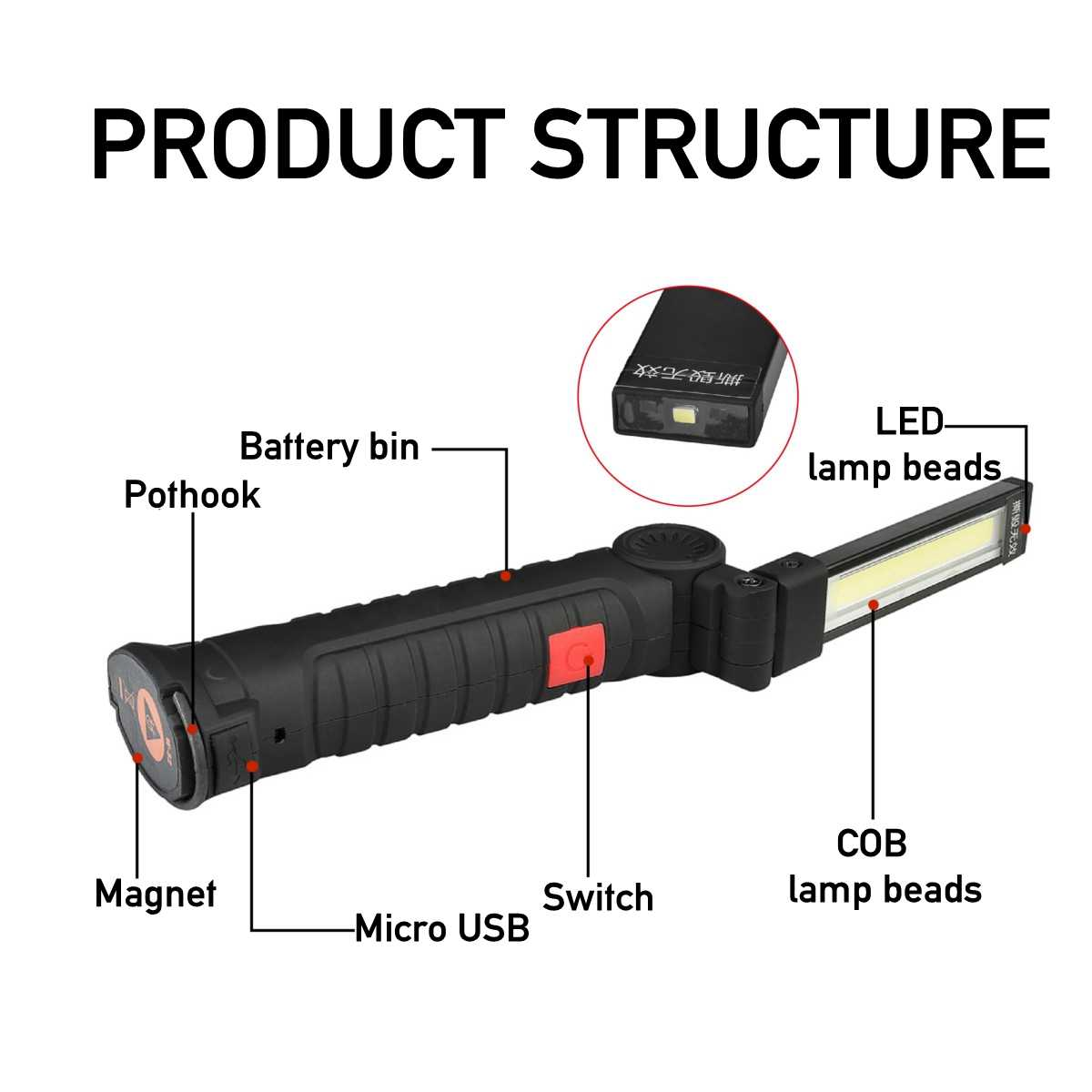 Portable 5 Mode COB Flashlight Torch USB Rechargeable LED Work Light Magnetic A+