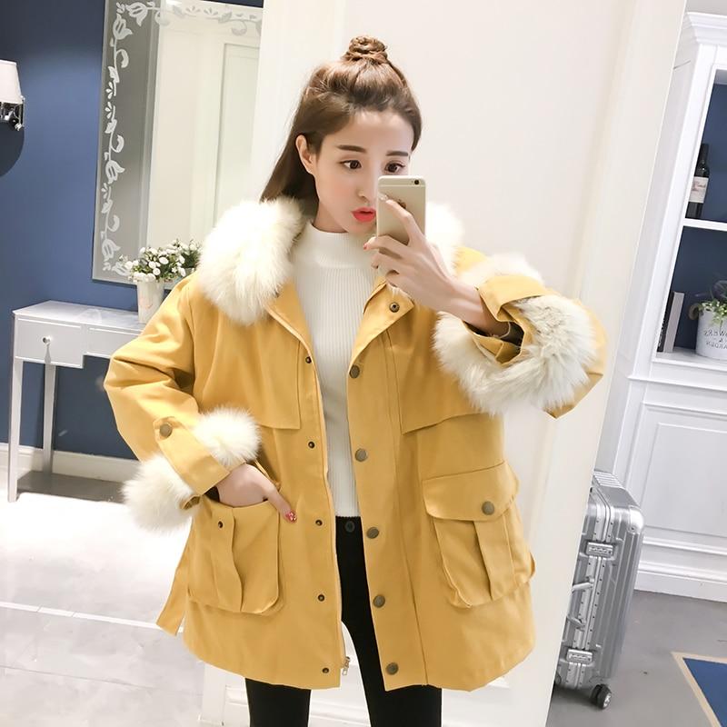 New Autumn Winter   Parkas   Large Fur Collar Jacket Long Loose BF Coat Female Outwear Plus Size   Parkas   Warm Casco Femminos Girls