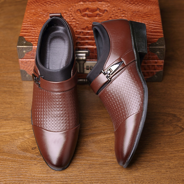 AlexBu Autumn Man Leather Shoes Slip On Flats Oxford Business Office Formal Wedding Shoe Pointed Toe Men Dress Leather Shoes