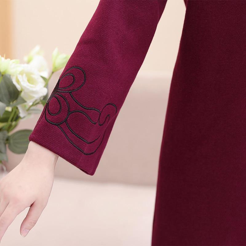 Automne Plus Femmes Red Outwear Casual Double Wine Élégant Manteau Longues Longue Manches Taille Femelle Laine D'âge Moyen Hiver 4xl La Boutonnage De Mode XBwxzqXTr