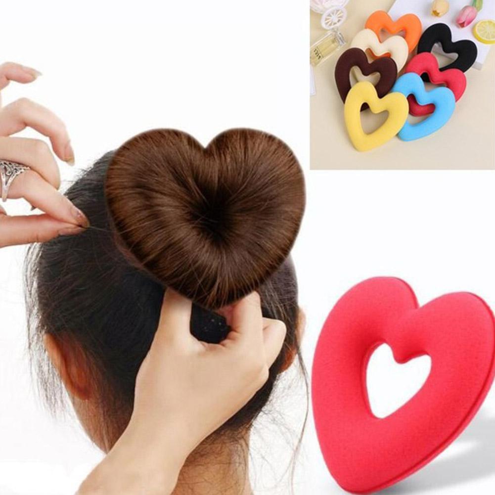 BellyLady Cute Heart-shaped Hair Styling Tool Women Girls Sponge Bract Head Meatball Hair Bun Ring Donut Maker
