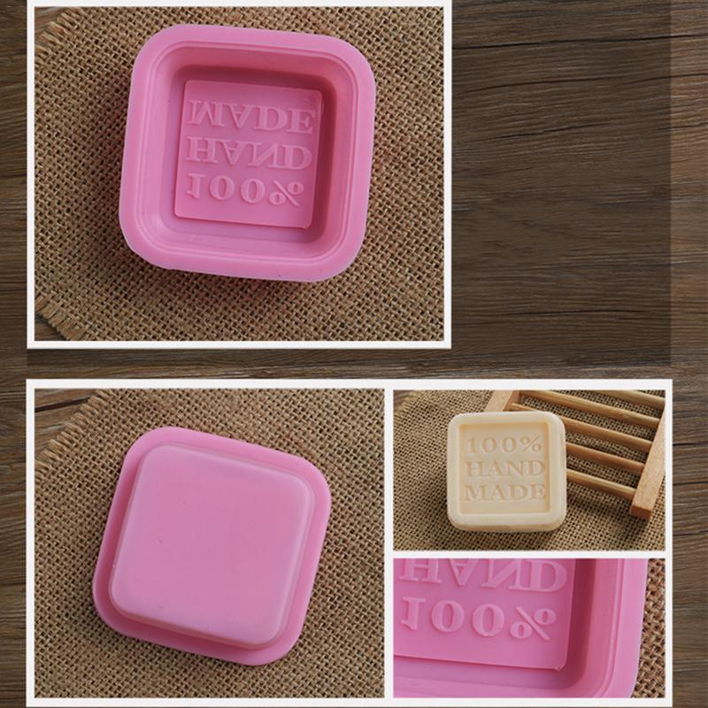 Art Craft Soap Making Square Shape Silicone Soap Mold 100% Handmade Letter Curved DIY Soap Mold Color Shipping In Random