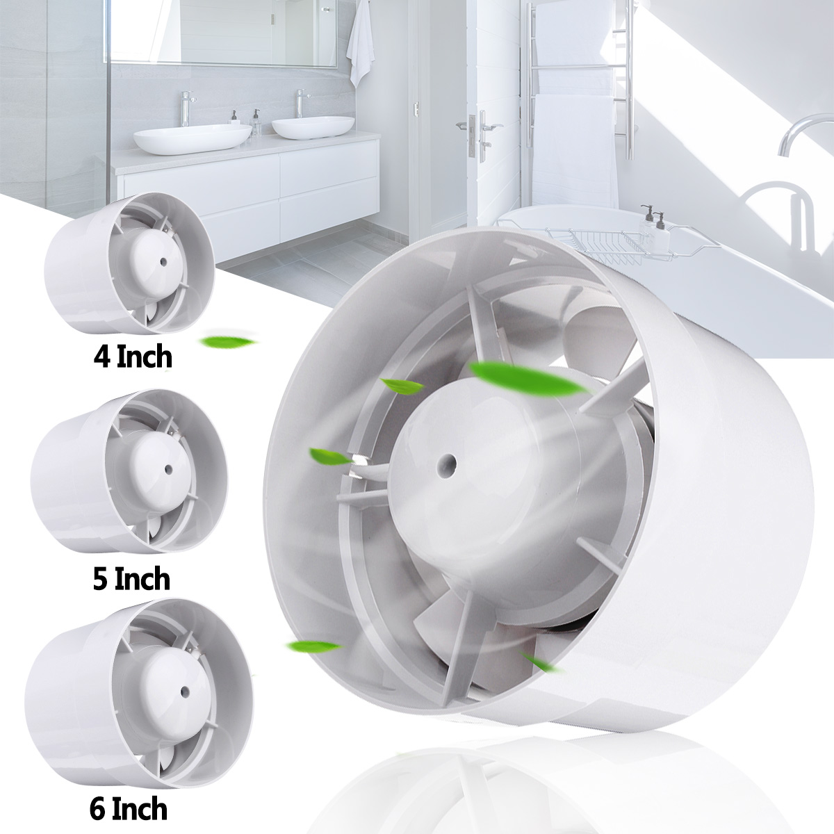 4/5/6 Inch Ducting Hydroponic Exhaust Ventilation Vent Circulation Fan Inline Dusted Blower Kitchen Wall Ceiling Exhauster Fan