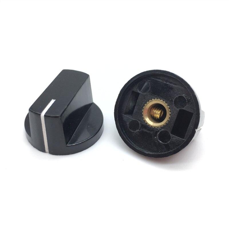5pcs/lot Potentiometer Encoder Band Switch Cap Plastic Knob With Screw For Hole 6mm Diameter 26 X15mm Black