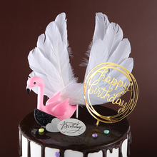 Angel Feather Wing Flag Cake Toppers for Wedding Birthday Party Baking Dessert Top Decoration Supplies