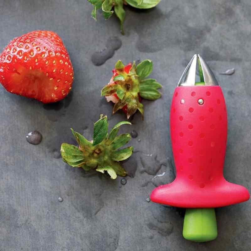 Keuken Accessoires Aardbei Huller Top Blad Remover Tool Handig Tomaat Stengels Fruit Mes Stem Remover Gadget Draagbare